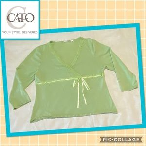 🍁 CATO, Light green blouse with lace trim